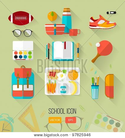 School illustration workspace. Set of school icons in flat style with long shadows.