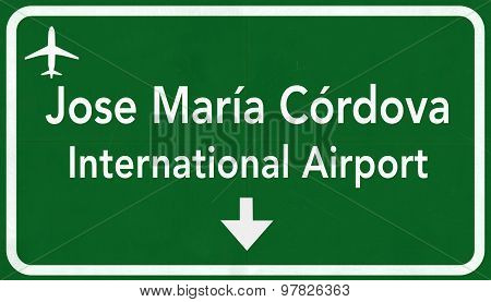 Medellin Colombia International Airport Highway Sign