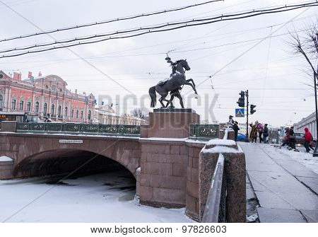 Anichkov bridge across the Fontanka river