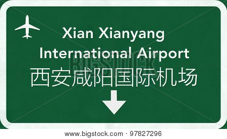 Xian Xianyang China International Airport Highway Sign