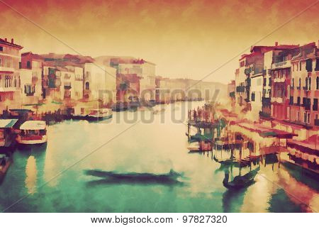 Vintage painting of Venice, Italy. Gondola floats on Grand Canal, Italian Canal Grande at sunset. View from Rialto Bridge