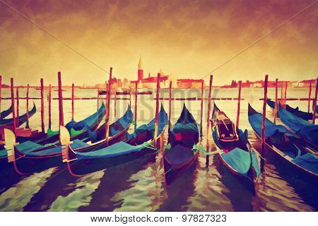 Vintage painting of Venice, Italy. Gondolas on Grand Canal at sunset. San Giorgio Maggiore in the background