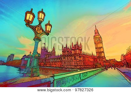 Cartoon style illustration of Big Ben seen from Westminster Bridge, London, the UK. at sunset. Retro street lamp light.