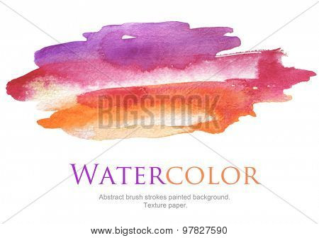 Abstract watercolor brush strokes painted background. Texture paper.