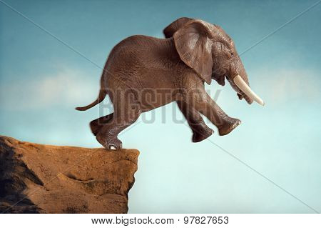 Leap Of Faith Concept Elephant Jumping Into A Void