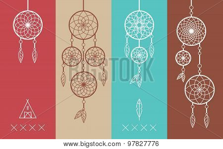 Dream Catcher Boho Flat Line Icons Set