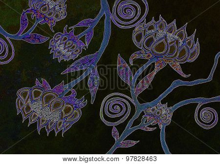 Watercolor Painting of a Floral Design on a Black Background
