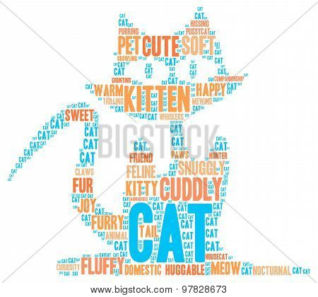 Cat Shaped Word Cloud