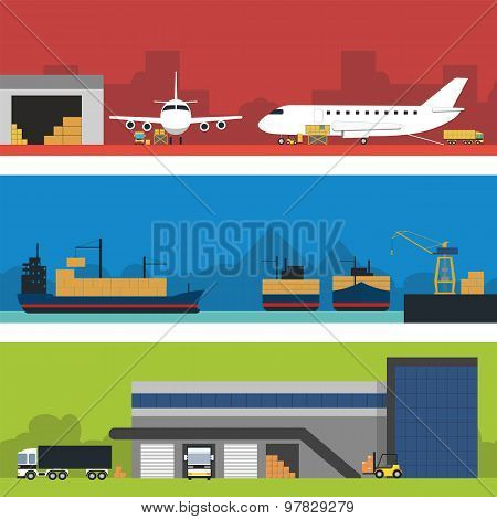 Logistics infographic banner set. Flat vector.