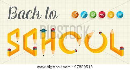 Back To School Creative Letters Illustration