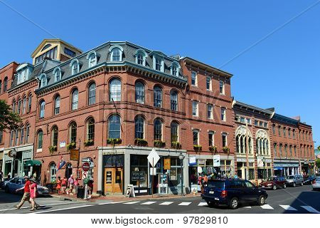 Portland Fore Street at Old Port , Maine, USA