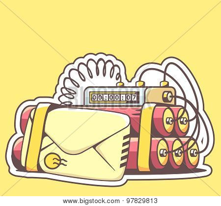 Vector Illustration Of Envelope With Red Dynamite On Yellow Background.