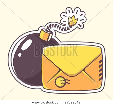 Vector Illustration Of Yellow Envelope With Bomb On Color Background.