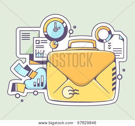 Vector Illustration Of Yellow Briefcase Envelope And Financial Documents On Color Background.