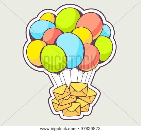 Vector Illustration Of Yellow Envelopes Flying On Colorful Balloons On Gray Background.