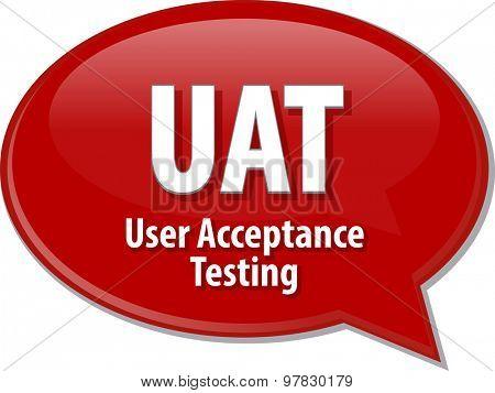 Speech bubble illustration of information technology acronym abbreviation term definition UAT User Acceptance Testing