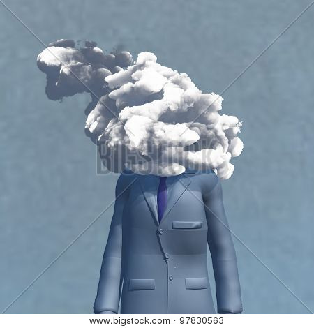 Head in cloud man