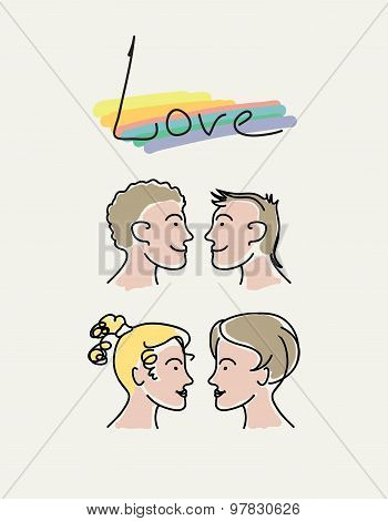 Gay couples.