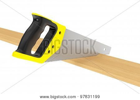 Hand Saw Tool And Wood Board