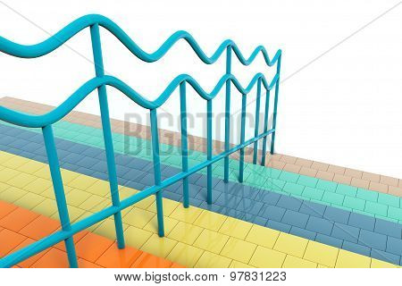 Multicolour Stair With Handrails