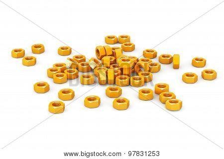Heap Of Golden Screw Steel Nuts