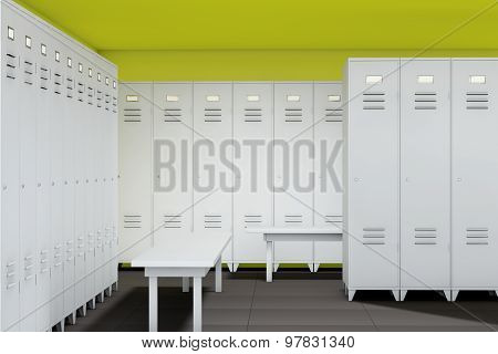 Row Of Steel Lockers With Bench