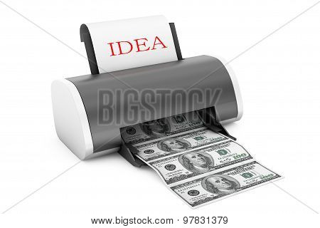 Idea To Money Concept. Printer Convert Idea To Money