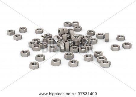 Heap Of Screw Steel Nuts