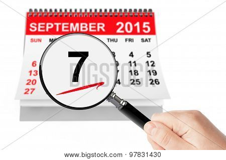Salami Day Concept. 7 September 2015 Calendar With Magnifier
