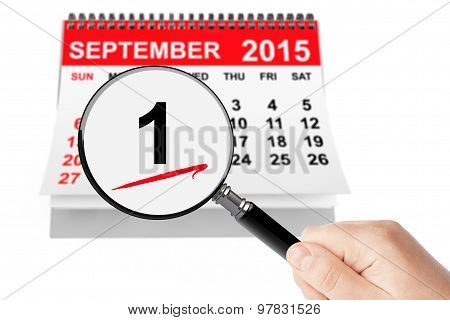 1 September Day Concept. 1 September 2015 Calendar With Magnifier