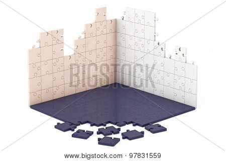 Multicolour Puzzle Wall And Floor Construction