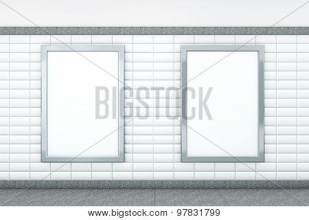 Big Blank Vertical Posters. 3D Rendering