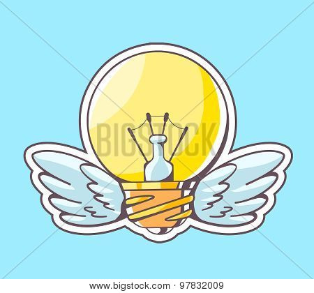 Vector Illustration Of Yellow Lightbulb With Wings Flying On Blue Background.
