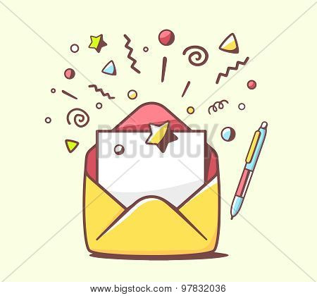 Vector Illustration Of Opened Yellow Envelope With Pen And Stars On Color Background.