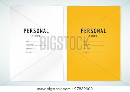 Form blank template. Business folder, paper and print, office, personal information, text, top secre