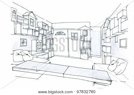 Sketch In Black And White Of A Room For Kids