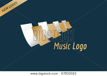 Music piano keys logo icon template. Melody, classic, note symbol or paper, book, jazz song, royal b