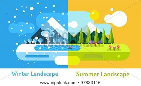 Abstract outdoor summer and winter landscape. Trees nature signs, mountains, river or lake, sun clou