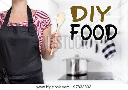 Diy Food Cook Holding Wooden Spoon Background