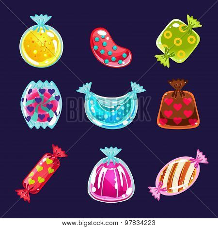 Set of colorful glossy candies
