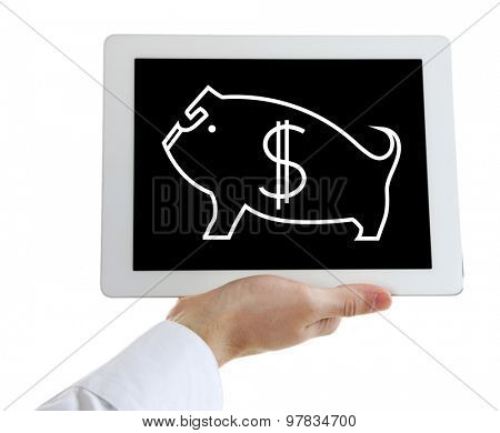 Money concept. Digital tablet in hand isolated on white