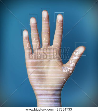 Human palm with microchip picture on it on dark blue background