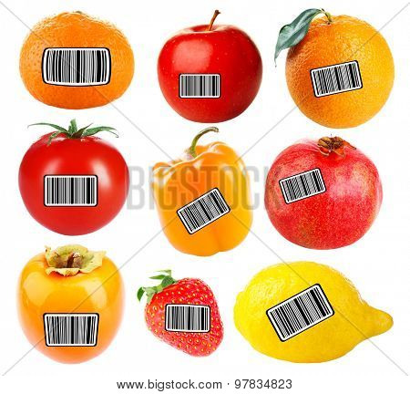 Fresh fruits and vegetables with barcodes isolated on white