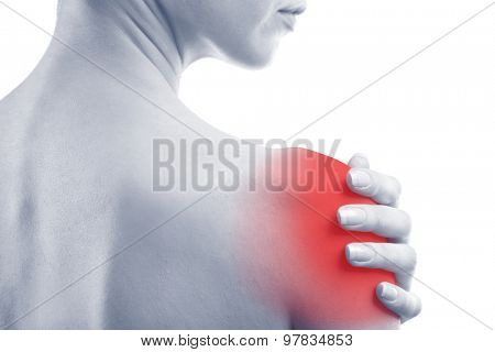 Young woman with shoulder pain, close-up