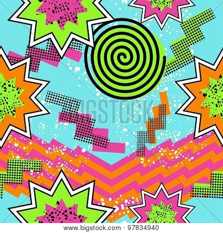 Retro 80S Comic Pattern Background