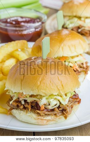 Beef Brisket Sliders On A White Plate