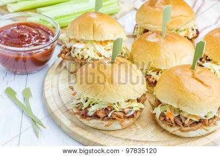 Beef Brisket Sliders On A Wooden Board