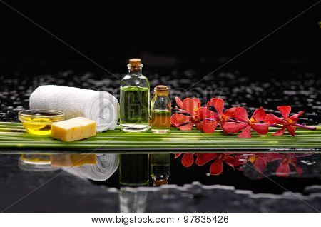 Red orchid and candle, oil, towel with row of plant stem