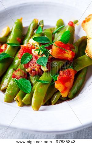 Green Beans, Stewed With Tomatoes.