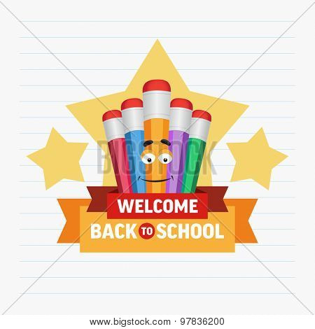 Cartoon colored pencils and stars with text welcome back to school. Vector illustration.